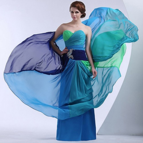Colourful Gradient Mix Chiffon Tube Dress