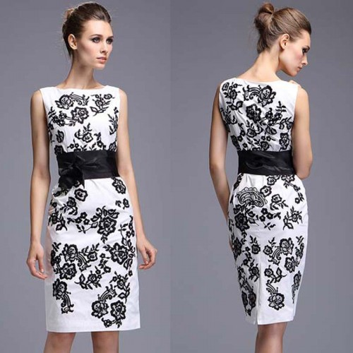 Black White Sleeveless Printed Midi Dress