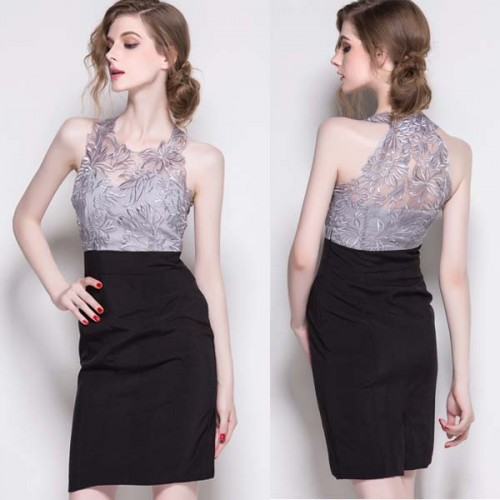 Halter Neck Sheer Lace Pencil Midi Dress