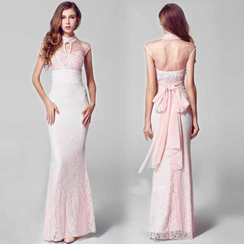 Pink Beaded Cheongsam Fish Tail Evening Gown