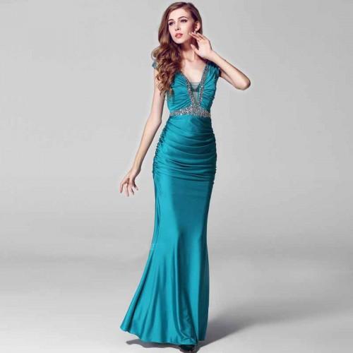V-Neck-Sheer-Through-Pleated-Evening-Long-Dress
