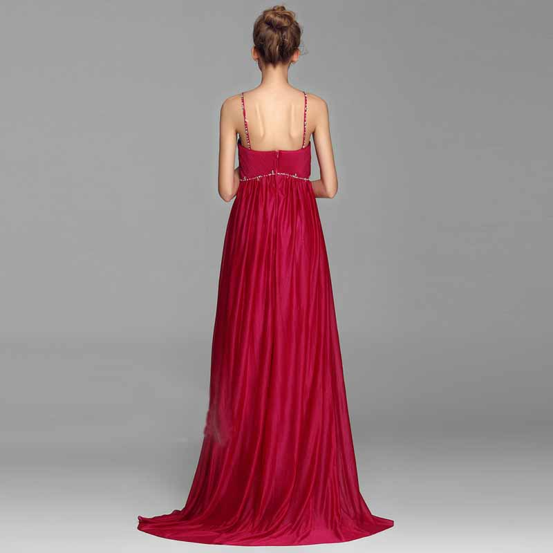 Red floral embroidery halter long evening dress