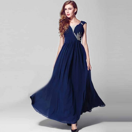 Deep Blue V-Neck Long Evening Dress