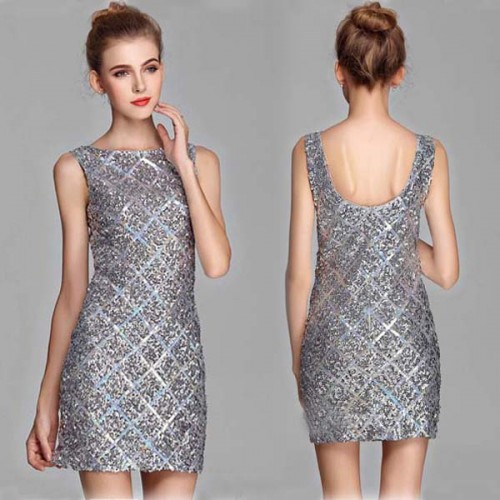 Sequin Simple U-Neck One Piece Dress