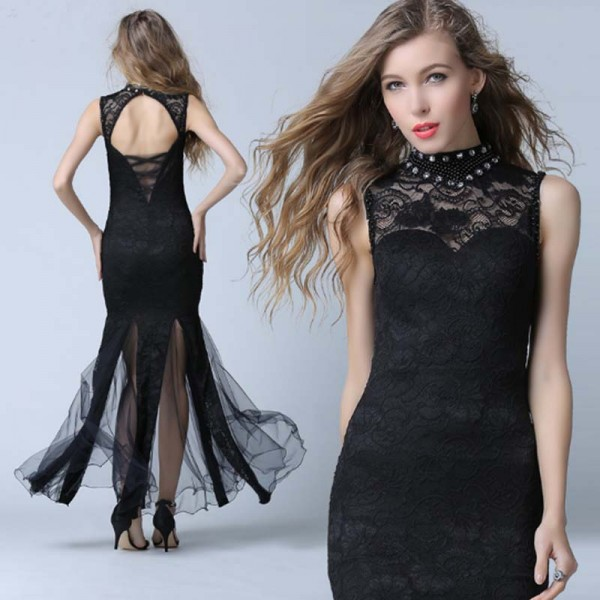 Black Lace Highneck Evening Dress (Free Stick On Bra)