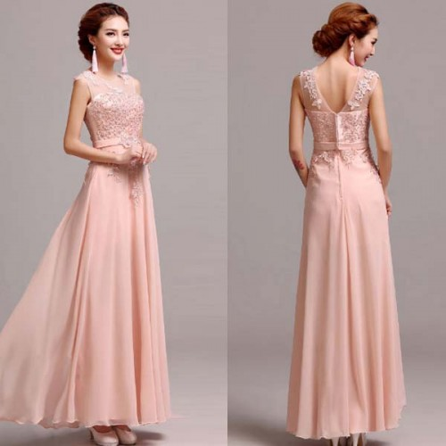 Pink Sheer Mesh Lace Long Evening Dress