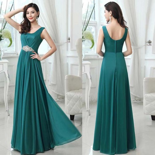 V-Neck Chiffon Pleated Long Evening