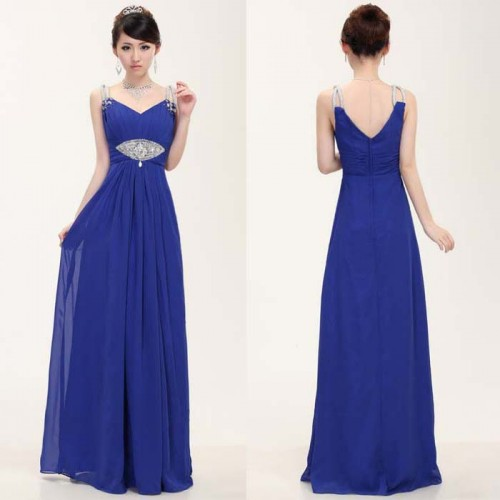 V-Neck Chiffon Long Evening Dress with Stone Strap