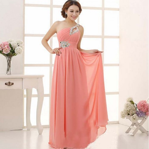 Peach Chiffon Long Toga Evening Dress with Stone