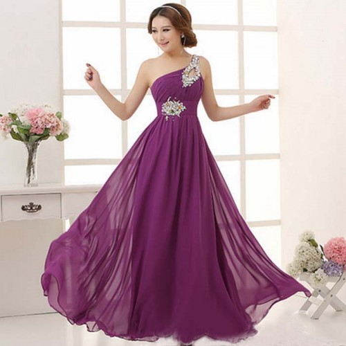 Chiffon Long Toga Evening Dress with Stone