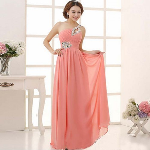 Peach Toga Evening Dress (Size S)