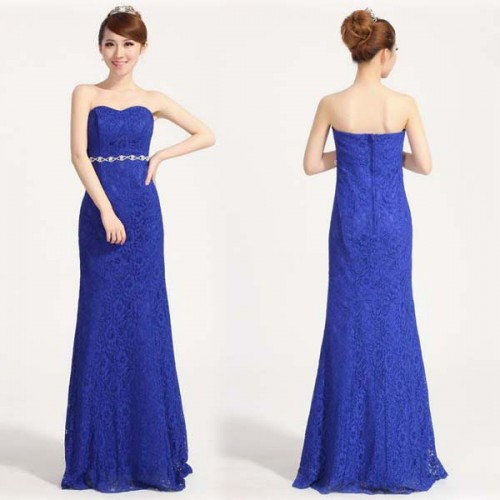 Blue Lace Fish Tail Dress With Stone