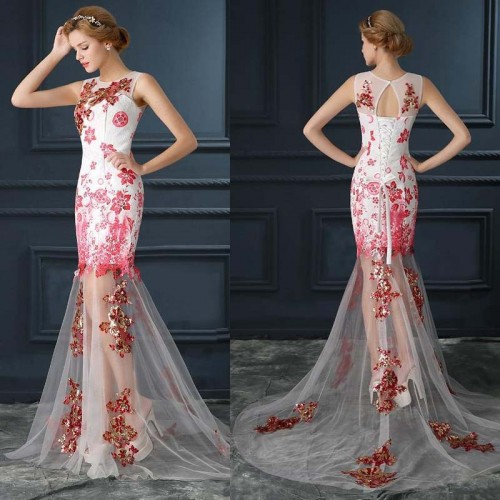 Floral Embroidered Evening Sheer Dress