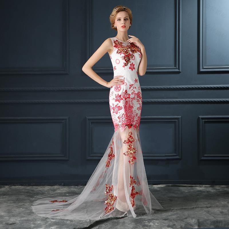 Floral embroidered evening sheer dress
