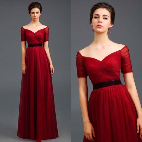 Red Off Shoulder Sweet Heart Gown