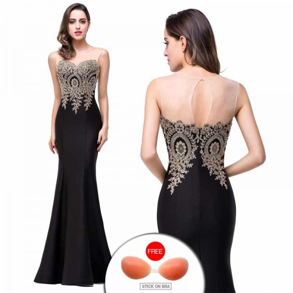 Black Embroidered Fish Tail Gown (FREE Stick On Bra)