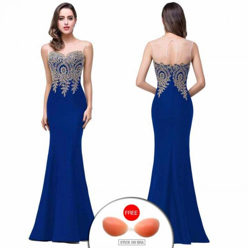 Blue Embroidered Fish Tail Gown (FREE Stick On Bra)