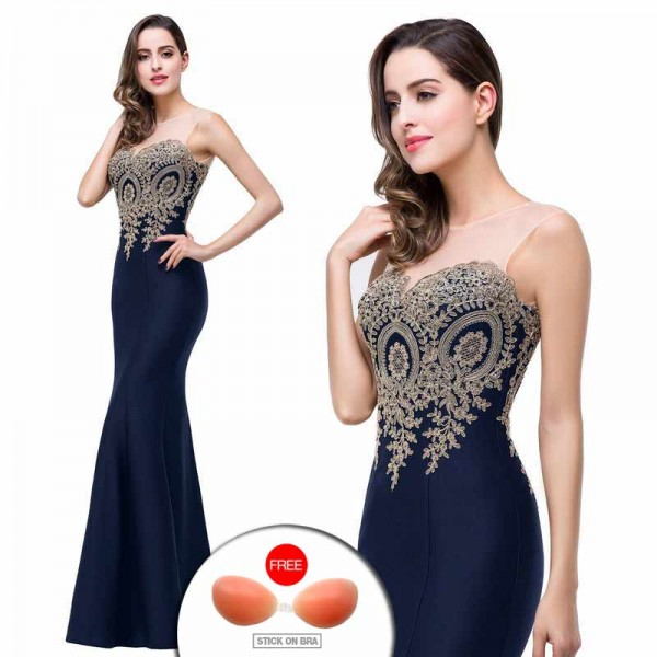 Deep Blue Embroidered Fish Tail Gown (FREE Stick On Bra)