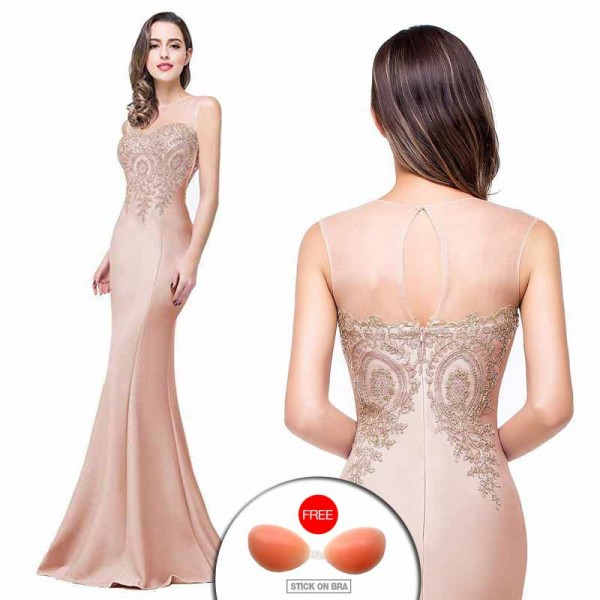 Gold Embroidered Fish Tail Gown (FREE Stick On Bra)