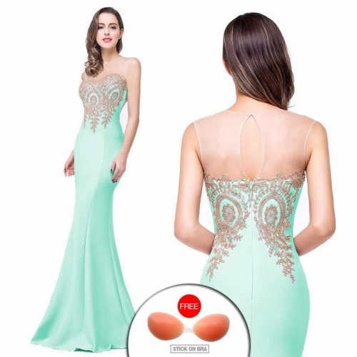 Green Embroidered Fish Tail Gown (FREE Stick On Bra)