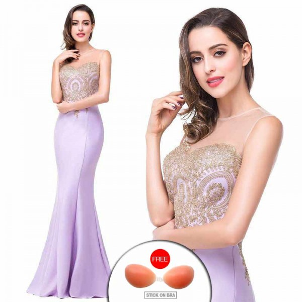 Light Purple Embroidered Fish Tail Gown (FREE Stick On Bra)