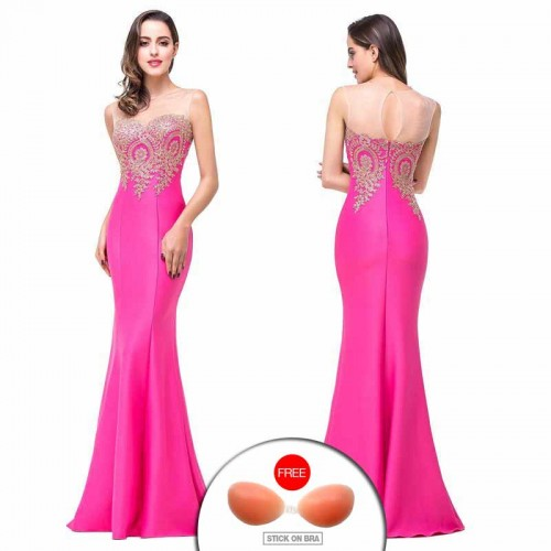Pink Embroidered Fish Tail Gown (FREE Stick On Bra)