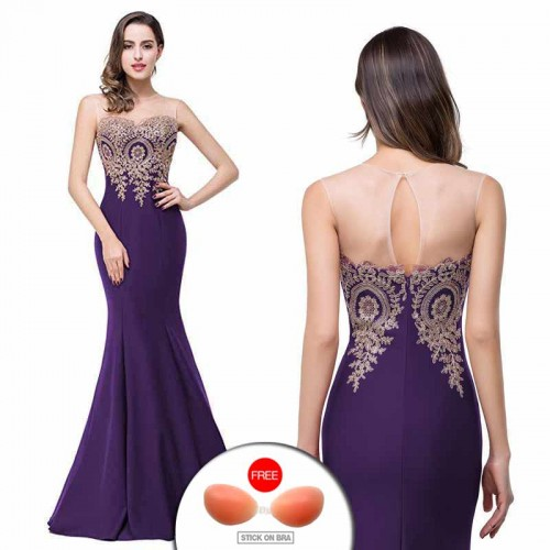 Purple Embroidered Fish Tail Gown (FREE Stick On Bra)