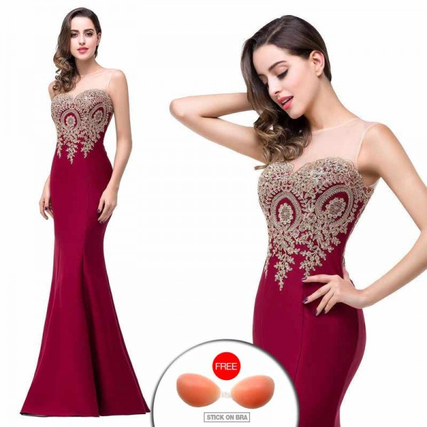Embroidered Fish Tail Gown (FREE Stick On Bra)
