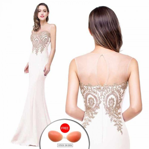 White Embroidered Fish Tail Gown (FREE Stick On Bra)