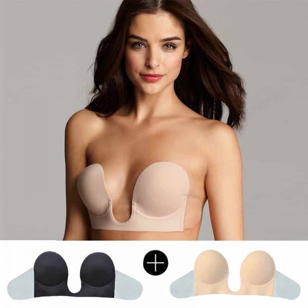 Dual Combo-Low Cut Fabric U-Bra (PUSH UP + Super Low Cut)
