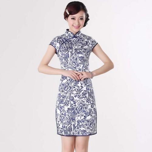 Short Sleeve Printed Cheongsam (QPC04)
