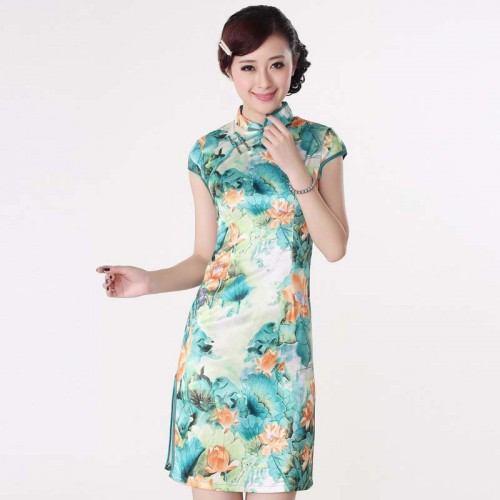 Short Sleeve Square Printed Cheongsam (QPC06)