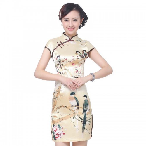 Short Sleeve Square Printed Cheongsam (QPC07)