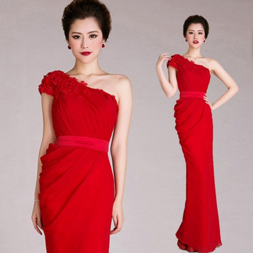One Shoulder 3D Flower Embroidery Fish Tail Chiffon Red Long Evening Dress