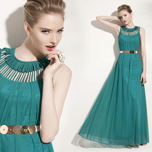 Green Long Tribal Dress (Free Size)