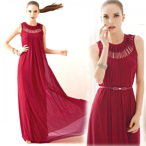 Red Tribal Long Dress (Free Size)