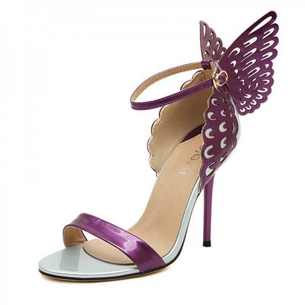 Purple Butterfly Inspired Metalic Heels