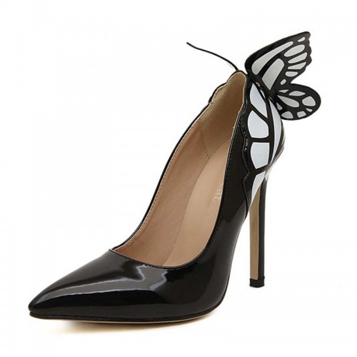 Black Butterfly Inspired Covered Heels