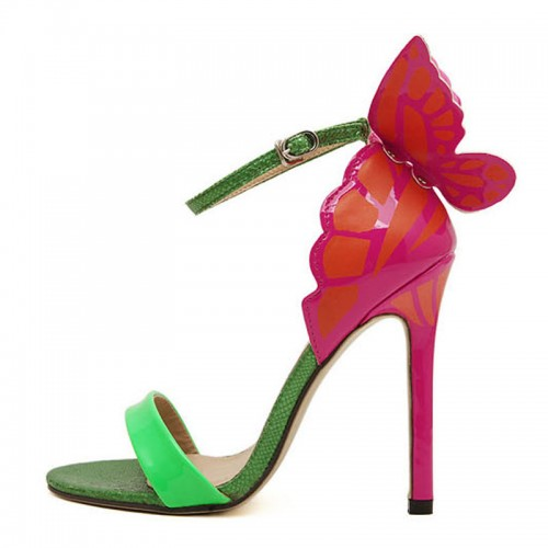Green Butterfly Inspired Ankle Strap Heels