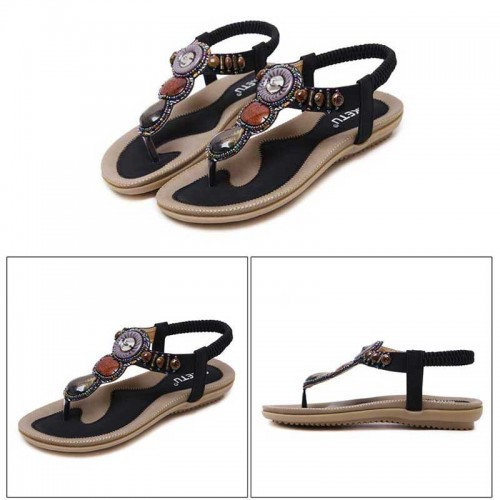 Black Tribal Beaded Sandal