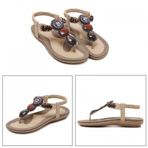 Beige Tribal Beaded Sandal