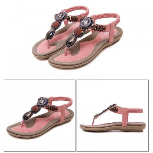 Pink Tribal Beaded Sandal