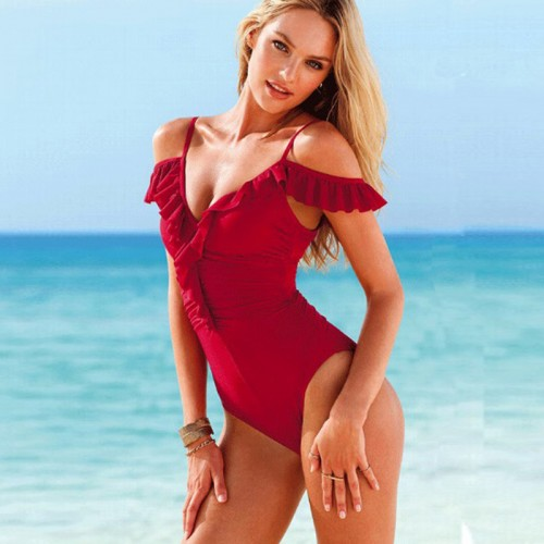 Ruffles Deep-V One Piece Swimming Wear