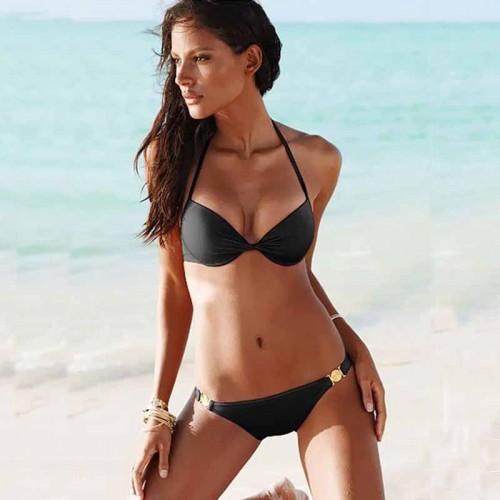 Black Halter Neck Bikini Set (Size L)