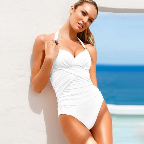 White Halter Neck Swimming Suit