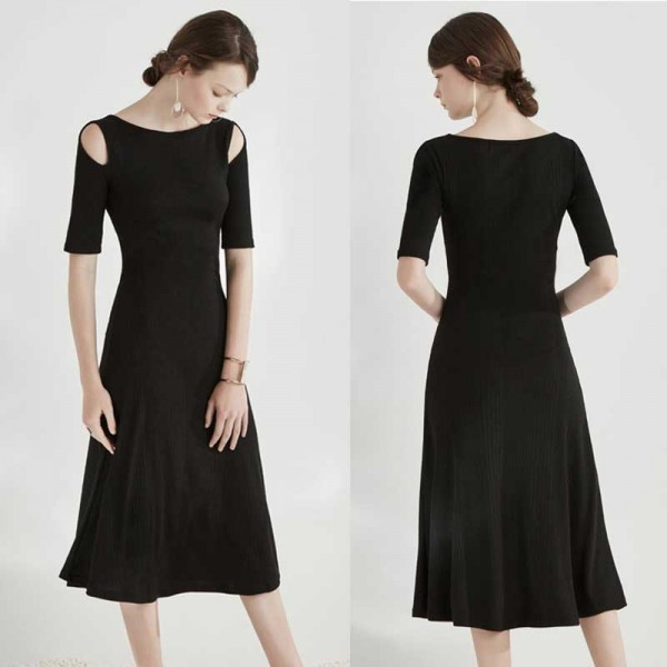 Black Crop Shoulder Midi Casual Dress