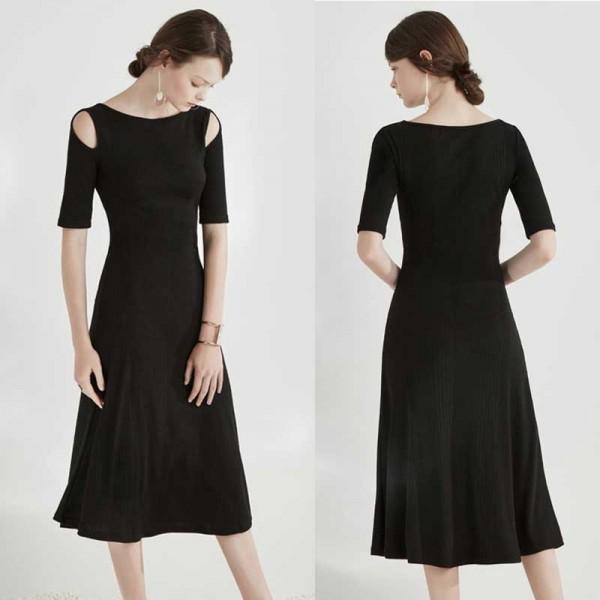 Black Crop Shoulder Midi Casual Dress