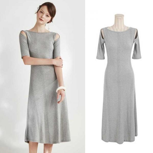 Crop Shoulder Midi Casual Dress
