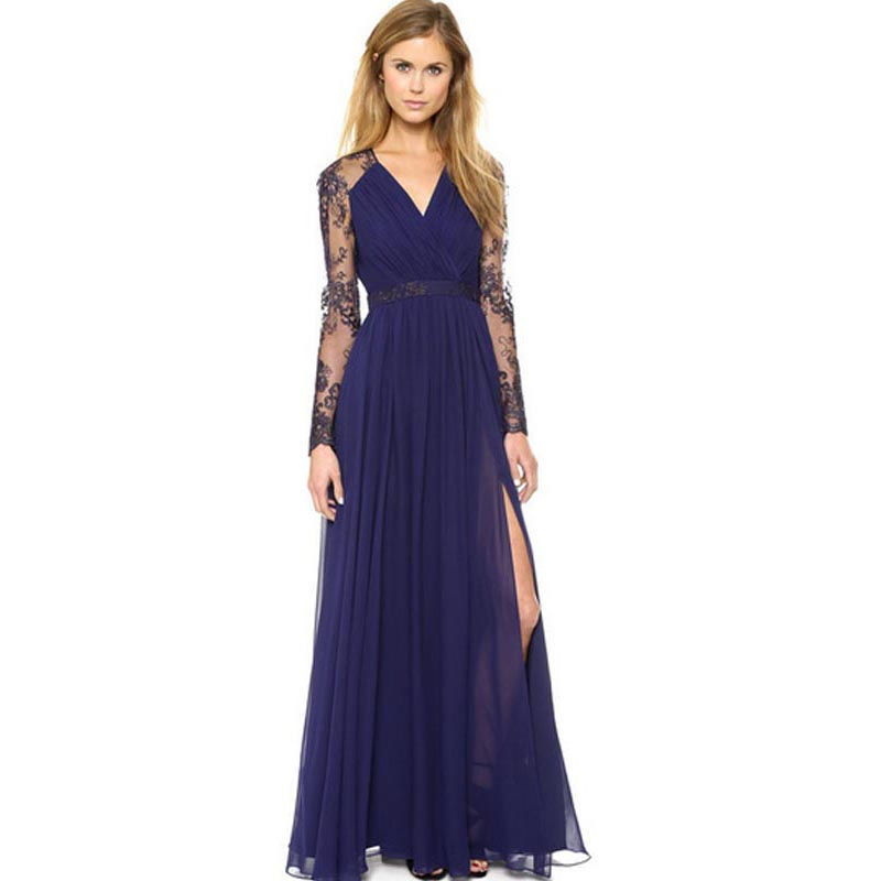 V neck lace sleeves blue long slit dress - Dressing modellen ...