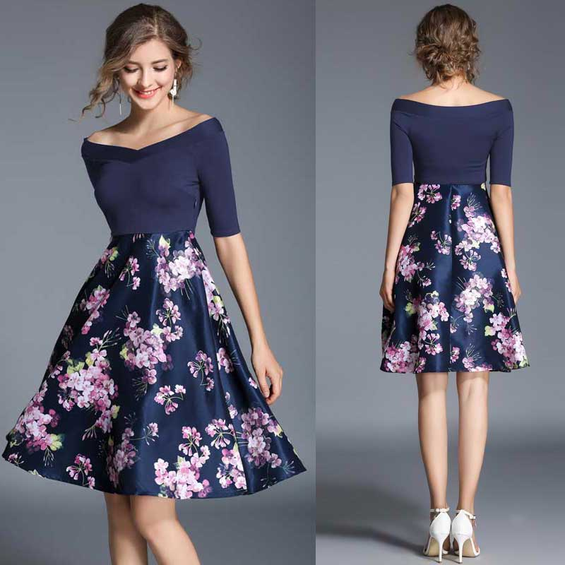 0deb40a750e8 Floral Off Shoulder Umbrella Dress